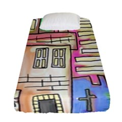 A Village Drawn In A Doodle Style Fitted Sheet (single Size)