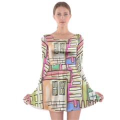 A Village Drawn In A Doodle Style Long Sleeve Skater Dress