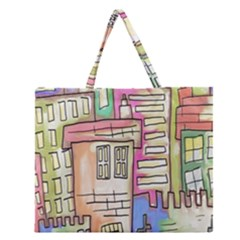 A Village Drawn In A Doodle Style Zipper Large Tote Bag by BangZart