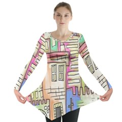 A Village Drawn In A Doodle Style Long Sleeve Tunic  by BangZart