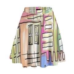 A Village Drawn In A Doodle Style High Waist Skirt
