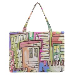 A Village Drawn In A Doodle Style Medium Zipper Tote Bag