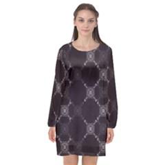Abstract Seamless Pattern Background Long Sleeve Chiffon Shift Dress