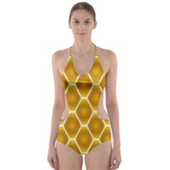 Snake Abstract Pattern Cut Out One Piece Swimsuit