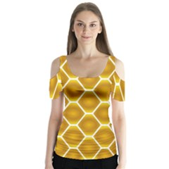 Snake Abstract Pattern Butterfly Sleeve Cutout Tee