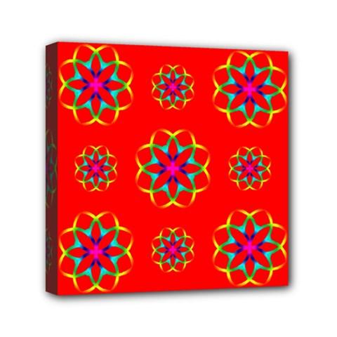 Rainbow Colors Geometric Circles Seamless Pattern On Red Background Mini Canvas 6  X 6