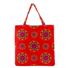 Rainbow Colors Geometric Circles Seamless Pattern On Red Background Grocery Tote Bag