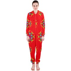 Rainbow Colors Geometric Circles Seamless Pattern On Red Background Hooded Jumpsuit (ladies)