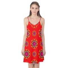Rainbow Colors Geometric Circles Seamless Pattern On Red Background Camis Nightgown