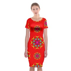 Rainbow Colors Geometric Circles Seamless Pattern On Red Background Classic Short Sleeve Midi Dress