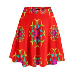 Rainbow Colors Geometric Circles Seamless Pattern On Red Background High Waist Skirt