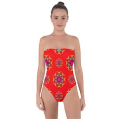 Rainbow Colors Geometric Circles Seamless Pattern On Red Background Tie Back One Piece Swimsuit