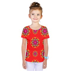Rainbow Colors Geometric Circles Seamless Pattern On Red Background Kids  One Piece Tee