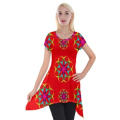 Rainbow Colors Geometric Circles Seamless Pattern On Red Background Short Sleeve Side Drop Tunic
