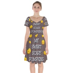 Hallowen My Sweet Scary Pumkins Short Sleeve Bardot Dress by BangZart