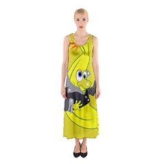 Funny Cartoon Punk Banana Illustration Sleeveless Maxi Dress