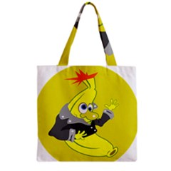 Funny Cartoon Punk Banana Illustration Grocery Tote Bag by BangZart