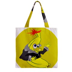 Funny Cartoon Punk Banana Illustration Zipper Grocery Tote Bag by BangZart