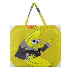 Funny Cartoon Punk Banana Illustration Zipper Large Tote Bag by BangZart