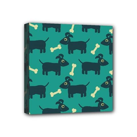 Happy Dogs Animals Pattern Mini Canvas 4  X 4  by BangZart