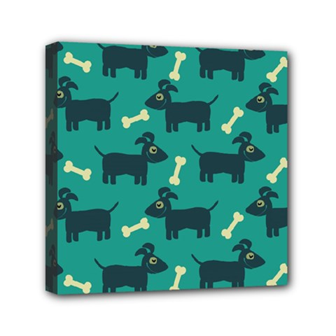 Happy Dogs Animals Pattern Mini Canvas 6  X 6