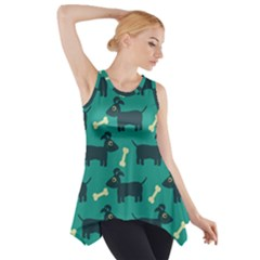 Happy Dogs Animals Pattern Side Drop Tank Tunic