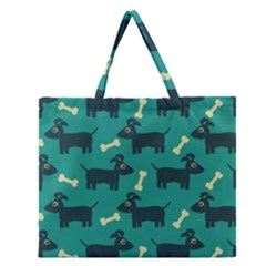 Happy Dogs Animals Pattern Zipper Large Tote Bag by BangZart