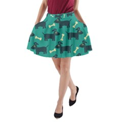 Happy Dogs Animals Pattern A Line Pocket Skirt