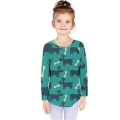 Happy Dogs Animals Pattern Kids  Long Sleeve Tee