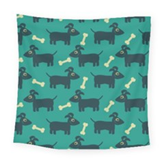 Happy Dogs Animals Pattern Square Tapestry (large)