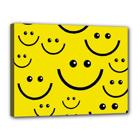 Digitally Created Yellow Happy Smile  Face Wallpaper Canvas 16  X 12  by BangZart