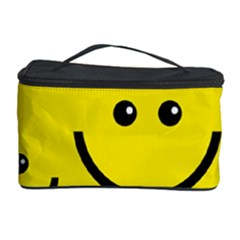Digitally Created Yellow Happy Smile  Face Wallpaper Cosmetic Storage Case by BangZart