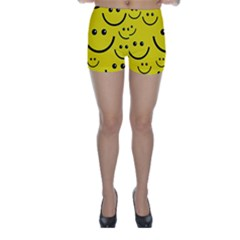 Digitally Created Yellow Happy Smile  Face Wallpaper Skinny Shorts