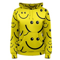 Digitally Created Yellow Happy Smile  Face Wallpaper Women s Pullover Hoodie