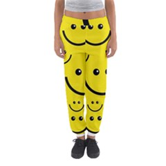 Digitally Created Yellow Happy Smile  Face Wallpaper Women s Jogger Sweatpants by BangZart