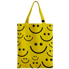 Digitally Created Yellow Happy Smile  Face Wallpaper Zipper Classic Tote Bag by BangZart