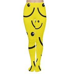 Digitally Created Yellow Happy Smile  Face Wallpaper Women s Tights
