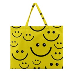Digitally Created Yellow Happy Smile  Face Wallpaper Zipper Large Tote Bag by BangZart