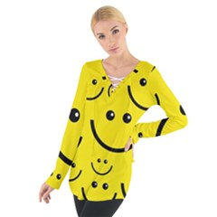 Digitally Created Yellow Happy Smile  Face Wallpaper Women s Tie Up Tee