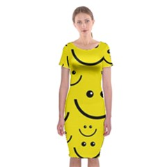 Digitally Created Yellow Happy Smile  Face Wallpaper Classic Short Sleeve Midi Dress