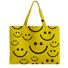 Digitally Created Yellow Happy Smile  Face Wallpaper Medium Tote Bag