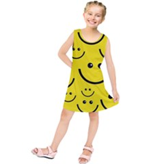Digitally Created Yellow Happy Smile  Face Wallpaper Kids  Tunic Dress