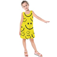 Digitally Created Yellow Happy Smile  Face Wallpaper Kids  Sleeveless Dress