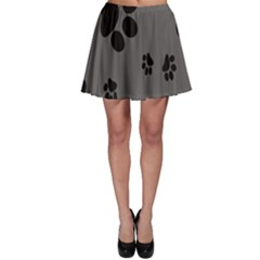 Dog Foodprint Paw Prints Seamless Background And Pattern Skater Skirt