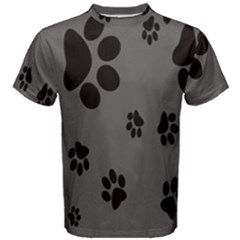 Dog Foodprint Paw Prints Seamless Background And Pattern Men s Cotton Tee