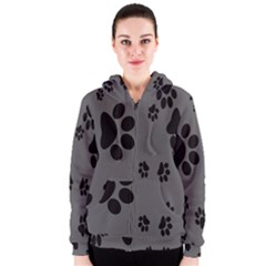Dog Foodprint Paw Prints Seamless Background And Pattern Women s Zipper Hoodie