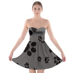 Dog Foodprint Paw Prints Seamless Background And Pattern Strapless Bra Top Dress