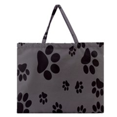 Dog Foodprint Paw Prints Seamless Background And Pattern Zipper Large Tote Bag by BangZart