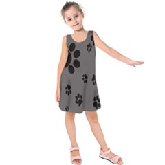 Dog Foodprint Paw Prints Seamless Background And Pattern Kids  Sleeveless Dress