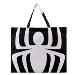 White Spider Zipper Large Tote Bag by BangZart